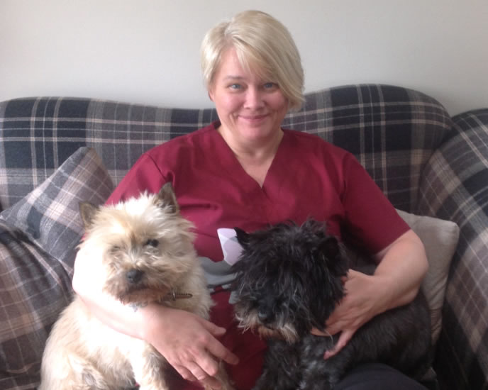 Elaine and dogs Brannock Vets